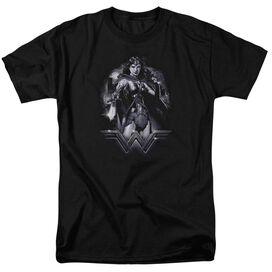 Batman Vs Superman Rainy Night Short Sleeve Adult Black T-Shirt