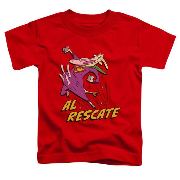 Cow And Chicken Al Rescate Short Sleeve Toddler Tee Red T-Shirt
