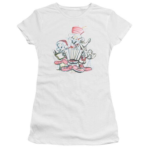 Looney Tunes Holiday Sketch Short Sleeve Junior Sheer T-Shirt