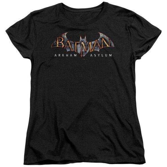 BATMAN AA ARKHAM ASYLUM LOGO - S/S WOMENS TEE - BLACK T-Shirt