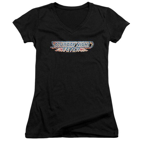 Saturday Night Fever Logo Junior V Neck T-Shirt