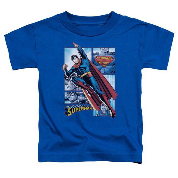 Jla Superman Panels Short Sleeve Toddler Tee Royal Blue Sm T-Shirt