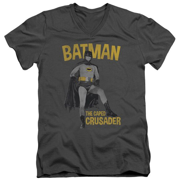 Batman Classic Tv Caped Crusader Short Sleeve Adult V Neck T-Shirt
