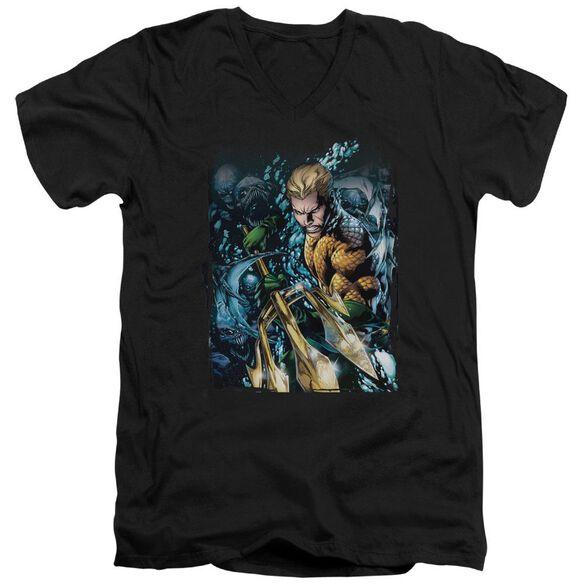 Jla Aquaman #1 Short Sleeve Adult V Neck T-Shirt