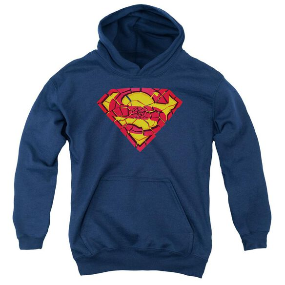 Superman Shattered Shield Youth Pull Over Hoodie