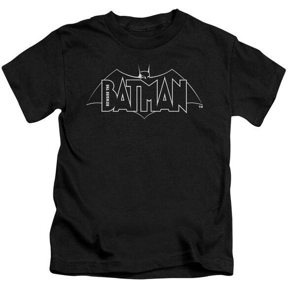 Beware The Batman B&W Logo Short Sleeve Juvenile T-Shirt