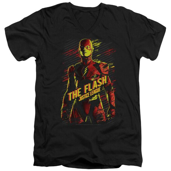 Justice League Movie The Flash Short Sleeve Adult V Neck T-Shirt