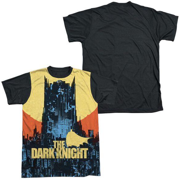 Batman Bat Building Short Sleeve Adult Front Black Back T-Shirt