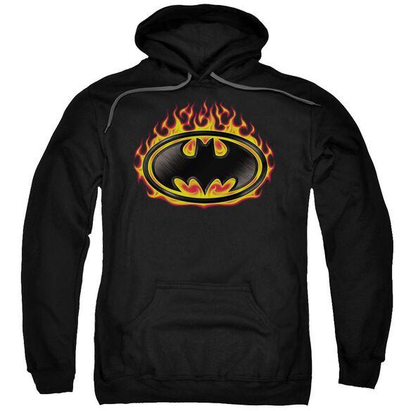 Batman Bat Flames Shield Adult Pull Over Hoodie Black