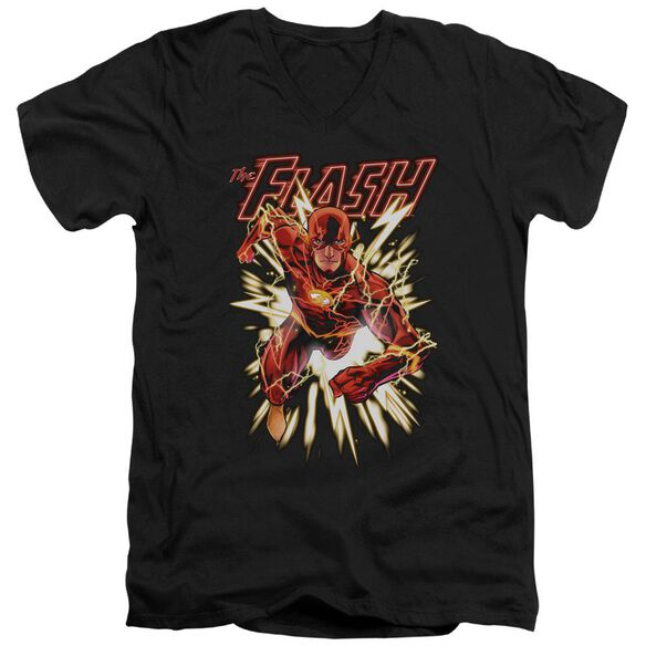 Jla Flash Glow Short Sleeve Adult V Neck T-Shirt