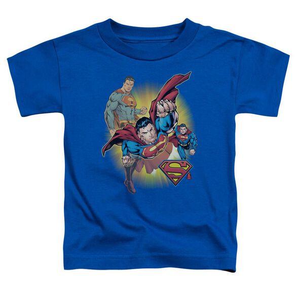 Jla Superman Collage Short Sleeve Toddler Tee Royal Blue Lg T-Shirt