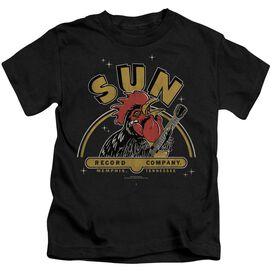 Sun Rocking Rooster Short Sleeve Juvenile Black T-Shirt