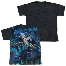 Batman Unlimited Cityscape Short Sleeve Youth Front Black Back T-Shirt