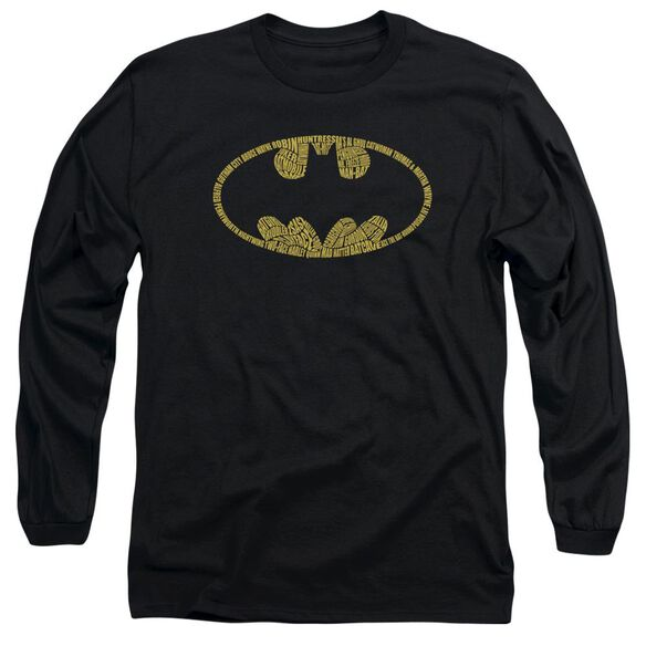 BATMAN WORD LOGO - L/S ADULT 18/1 - BLACK T-Shirt