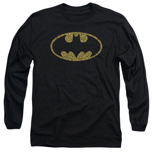 Batman Word Logo Long Sleeve Adult T-Shirt