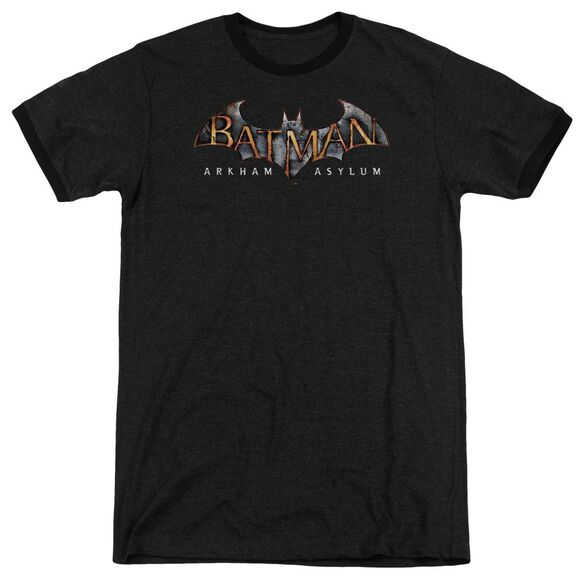 Batman Aa Arkham Asylum Logo - Adult Heather Ringer - Black