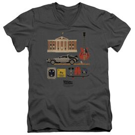 BACK TO THE FUTURE ITEMS - S/S ADULT V-NECK 30/1 - CHARCOAL- 2X - Charcoal T-Shirt