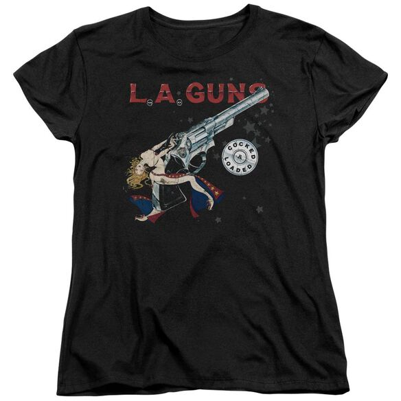 La Guns Cocked And Loaded Short Sleeve Womens Tee T-Shirt