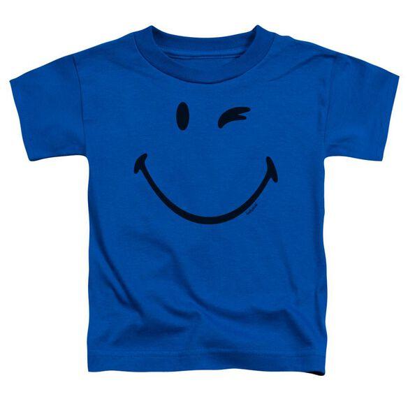 Smiley World Big Wink Short Sleeve Toddler Tee Royal Blue T-Shirt