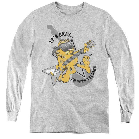 Garfield Im With The Band - Youth Long Sleeve Tee - Athletic Heather