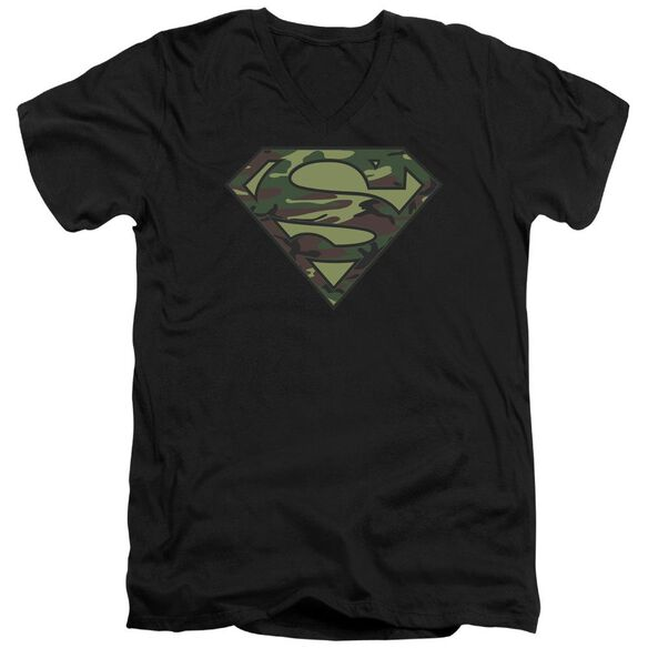 SUPERMAN CAMO LOGO - S/S ADULT V-NECK - BLACK T-Shirt