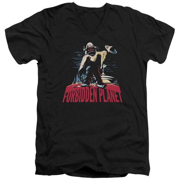 Forbidden Planet Robby And Woman Short Sleeve Adult V Neck T-Shirt