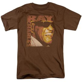 Ray Charles Singing Distressed Short Sleeve Adult Coffee T-Shirt