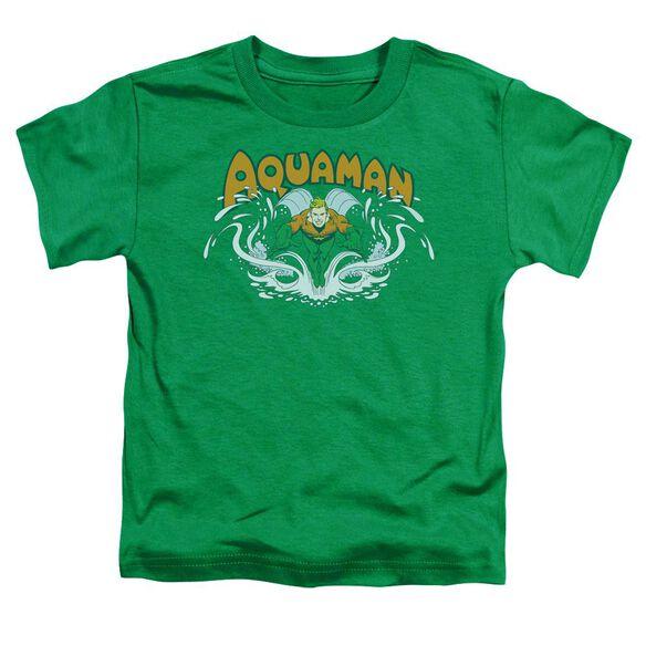 Dc Aquaman Splash Short Sleeve Toddler Tee Kelly Green Md T-Shirt