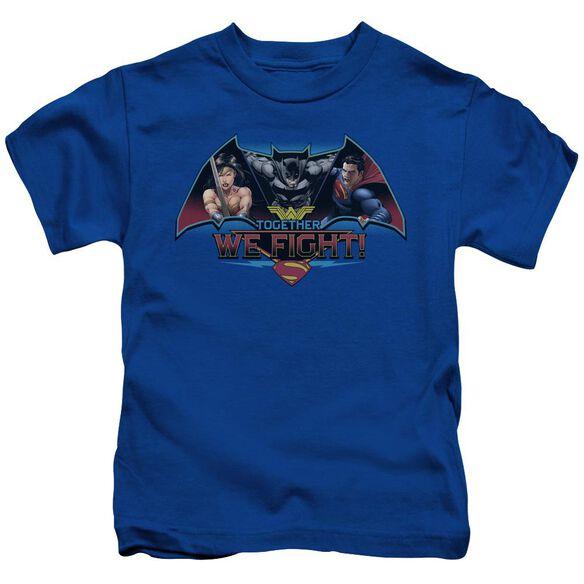 Batman V Superman Together We Fight Short Sleeve Juvenile Royal Blue T-Shirt