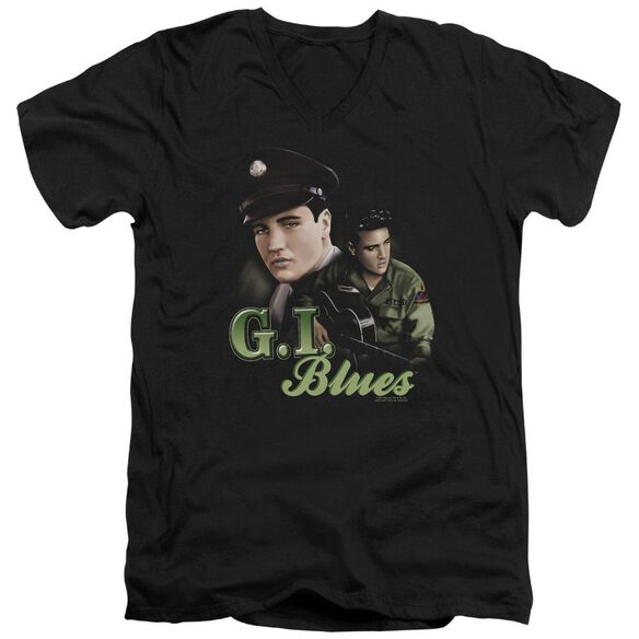 ELVIS PRESLEY G I BLUES - S/S ADULT V-NECK - BLACK T-Shirt