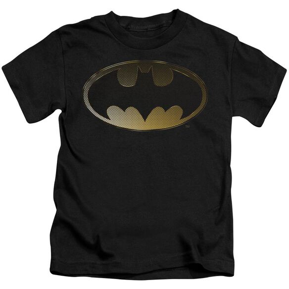 Batman Halftone Bat Short Sleeve Juvenile Black T-Shirt