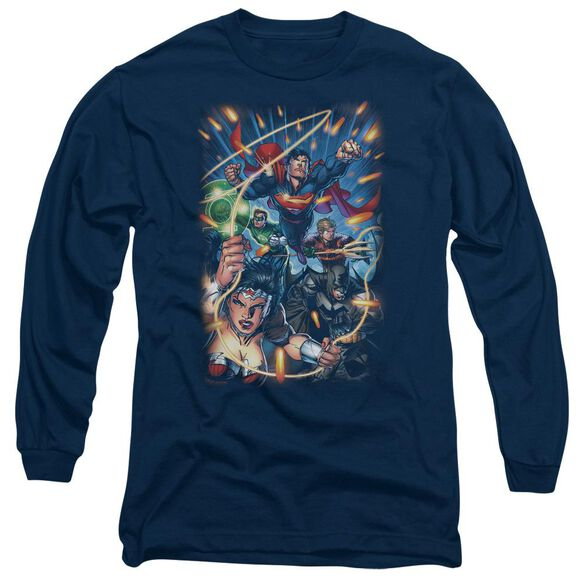 Jla Under Attack Long Sleeve Adult T-Shirt