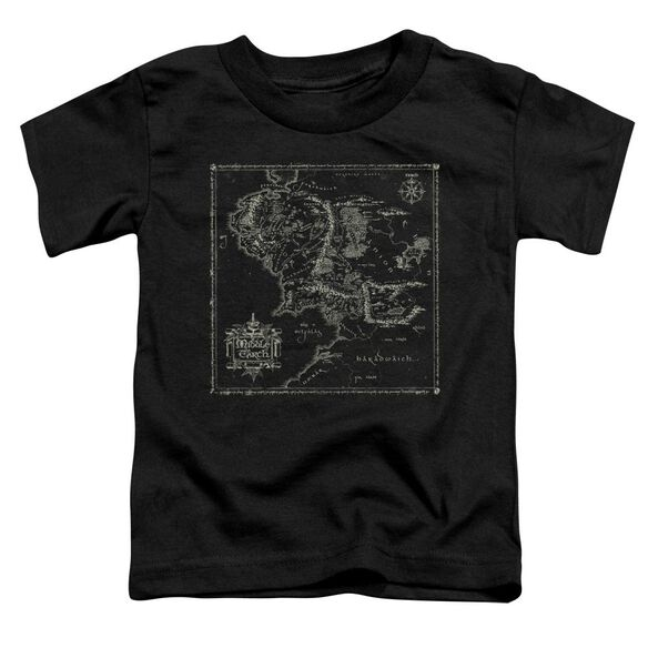 Lord Of The Rings Map Of Me Short Sleeve Toddler Tee Black T-Shirt