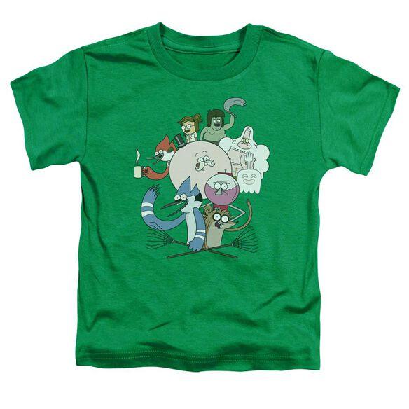 Regular Show Regular Cast Short Sleeve Toddler Tee Kelly Green T-Shirt
