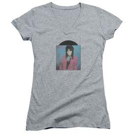 Joan Jett Rock N Roll 45 Junior V Neck Athletic T-Shirt