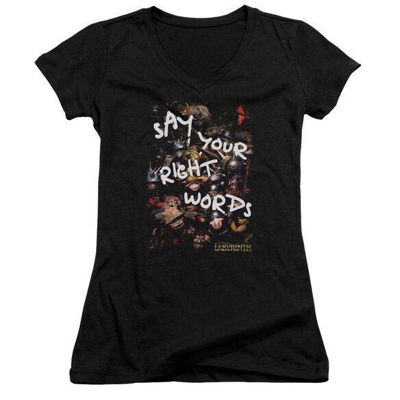 Labyrinth Right Words Junior V Neck T-Shirt