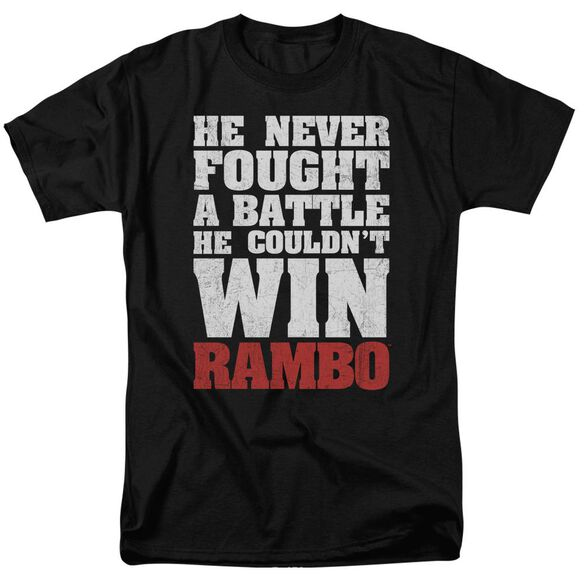 Rambo:First Blood He Never Short Sleeve Adult Black T-Shirt