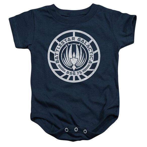 Bsg Scratched Bsg Logo Infant Snapsuit Navy