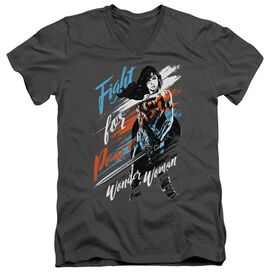 Wonder Woman Movie Fight For Peace Short Sleeve Adult V Neck T-Shirt
