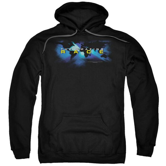 Amazing Race Faded Globe Adult Pull Over Hoodie Black