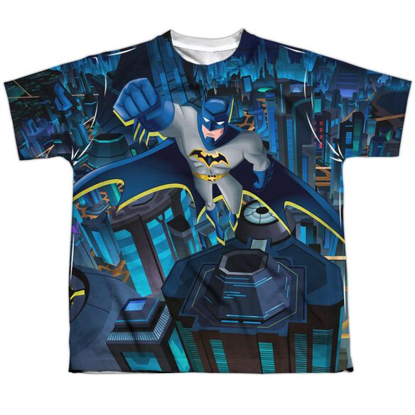 Batman Unlimited Cityscape Short Sleeve Youth Poly Crew T-Shirt