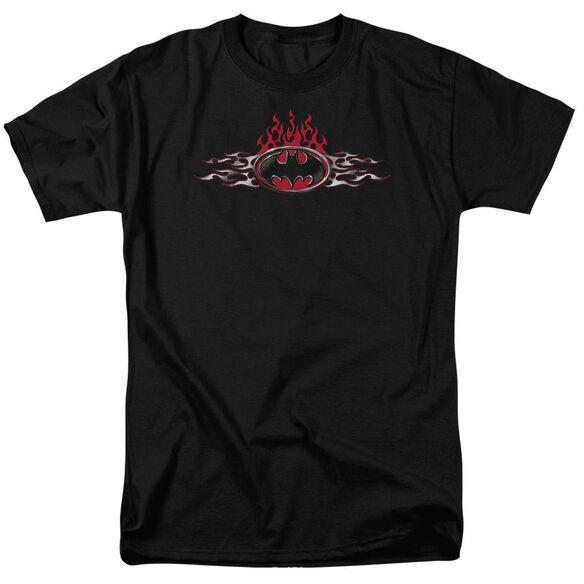 Batman Steel Flames Logo Short Sleeve Adult T-Shirt