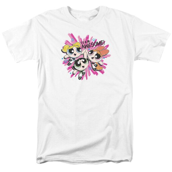 Powerpuff Girls Team Awesome Short Sleeve Adult White T-Shirt
