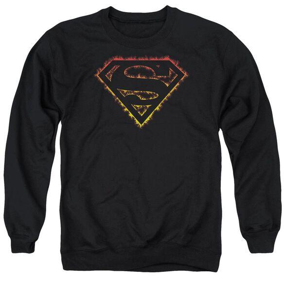 Superman Flame Outlined Logo - Adult Crewneck Sweatshirt - Black