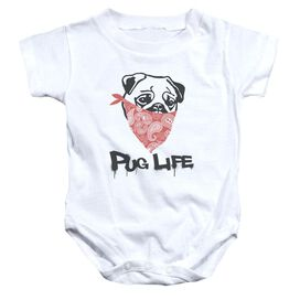 Pug Life Infant Snapsuit White Lg