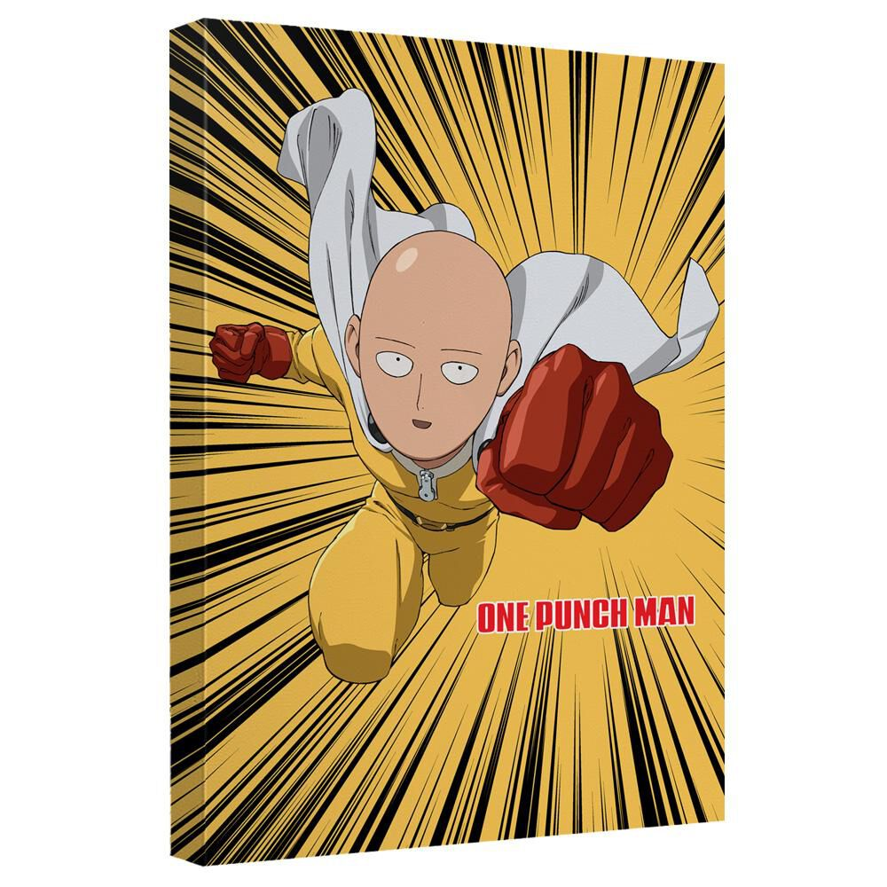 One Punch Man Saitama Punch Canvas Wall Art With Back Board - White ...