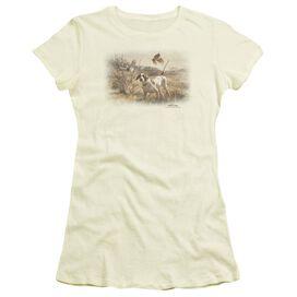Wildlife Pointer & Bobwhite Quail Short Sleeve Junior Sheer T-Shirt