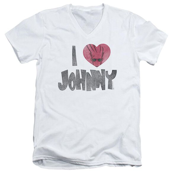 Johnny Bravo I Heart Johnny Short Sleeve Adult V Neck T-Shirt
