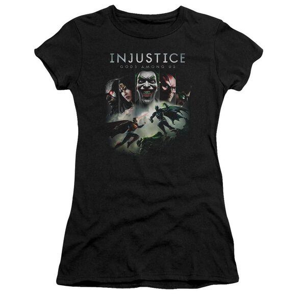 Injustice Gods Among Us Key Art Short Sleeve Junior Sheer T-Shirt