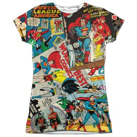 Jla Classic Collage Short Sleeve Junior Poly Crew T-Shirt
